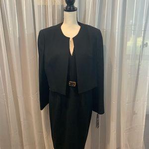 2 piece Kasper Black Jacket Dress Suit.  14